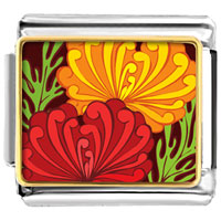 Italian Charms - underwater yellow and red flowers italian charms bracelet link photo italian charm Image.