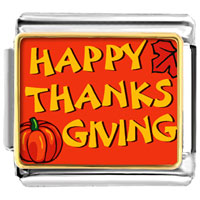 Happy Thanksgiving Italian Charms Bracelet Link Photo Italian Charm