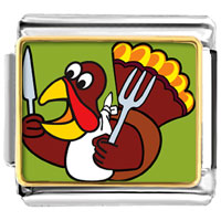 Italian Charms - hungry thanksgiving turkey italian charms bracelet link photo italian charm Image.