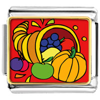 Italian Charms - thanksgiving food basket italian charms bracelet link photo italian charm Image.
