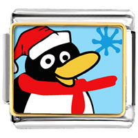 Italian Charms - happy winter penguin animal photo christmas italian charms bracelet link photo italian charm Image.