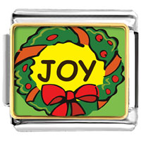 Italian Charms - joy christmas wreath italian charms bracelet link photo italian charm Image.