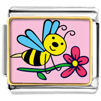 Italian Charms - spring bee with flower photo animal valentine hearts italian charms bracelet link photo italian charm Image.