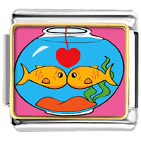 Italian Charms - goldfish in love photo italian charms Image.
