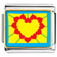 Italian Charms - heart shape sunflower photo italian charms Image.