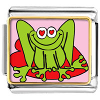 Italian Charms - lovable frog photo animal valentine hearts italian charms bracelet link photo italian charm Image.