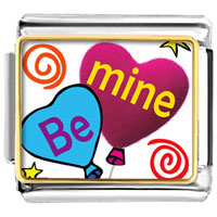 Italian Charms - be mine heart balloons photo italian charm Image.