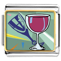 Italian Charms - champagne drink celebration food italian charms bracelet link photo italian charm Image.