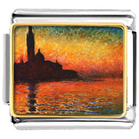 Italian Charms - sunset in venice painting italian charms bracelet link photo italian charm Image.
