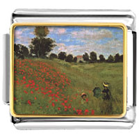 Italian Charms - path in the wheat at pourville painting italian charms bracelet link photo italian charm Image.