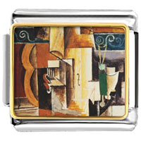 Italian Charms - violin and guitar painting italian charms bracelet link photo italian charm Image.