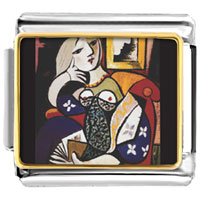 Italian Charms - woman with book painting italian charms bracelet link photo italian charm Image.