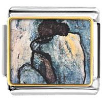 Italian Charms - blue nude painting italian charms bracelet link photo italian charm Image.
