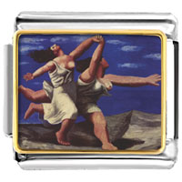 Italian Charms - woman running on the beach painting italian charms bracelet link photo italian charm Image.