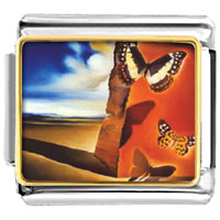 Italian Charms - landscape with butterflies painting animal italian charms bracelet link photo italian charm Image.