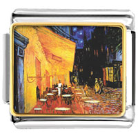 Italian Charms - cafe terrace at night painting italian charms bracelet link photo italian charm Image.