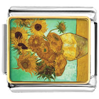 Italian Charms - vase with 12  sunflowers painting italian charms bracelet link photo italian charm Image.