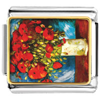 Italian Charms - poppies painting italian charms bracelet link photo italian charm Image.