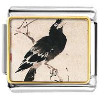 Italian Charms - bird painting italian charms bracelet link photo italian charm Image.