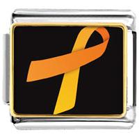 Items from KS - orange ribbon awareness italian charms bracelet link photo italian charm Image.