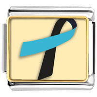 Items from KS - black and blue ribbon awareness italian charms bracelet link photo italian charm Image.