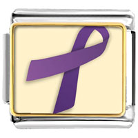 Items from KS - purple ribbon awareness italian charms bracelet link photo italian charm Image.