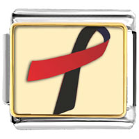 Items from KS - black and red ribbon awareness italian charms bracelet link photo italian charm Image.