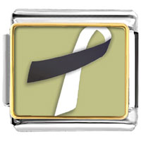 Items from KS - black and white ribbon awareness italian charms bracelet link photo italian charm Image.