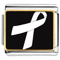 Items from KS - white ribbon awareness italian charms bracelet link photo italian charm Image.