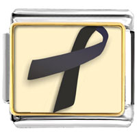Items from KS - black ribbon awareness italian charms bracelet link photo italian charm Image.