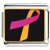 Items from KS - orchid and orange ribbon awareness italian charms bracelet link photo italian charm Image.