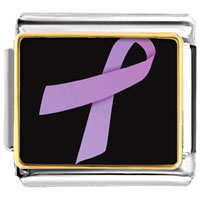 Items from KS - lavender ribbon awareness italian charms bracelet link photo italian charm Image.