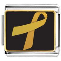 Items from KS - golden italian charm bracelet ribbon awareness photo italian charm Image.