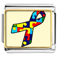 Items from KS - jigsaw puzzle ribbon awareness italian charms bracelet link photo italian charm Image.