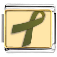 Items from KS - olive green ribbon awareness italian charms bracelet link photo italian charm Image.