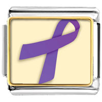 Items from KS - violet ribbon awareness italian charms bracelet link photo italian charm Image.