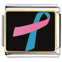 Items from KS - pink and blue ribbon breast cancer awareness italian charm bracelet link photo italian charm Image.