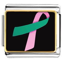 Items from KS - pink and teal ribbon awareness italian charms bracelet link photo italian charm Image.