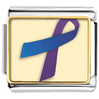Items from KS - purple and blue ribbon awareness italian charms bracelet link photo italian charm Image.