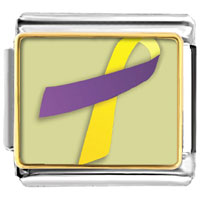 Items from KS - purple and yellow ribbon awareness italian charms bracelet link photo italian charm Image.