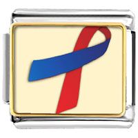 Items from KS - red and blue ribbon awareness italian charms bracelet link photo italian charm Image.