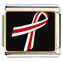 Items from KS - red and white ribbon awareness italian charms bracelet link photo italian charm Image.