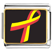 Items from KS - red and yellow ribbon awareness italian charms bracelet link photo italian charm Image.