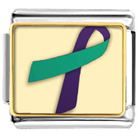 Items from KS - purple and teal ribbon awareness italian charms bracelet link photo italian charm Image.