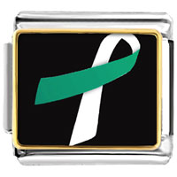 Items from KS - teal and white ribbon awareness italian charms bracelet link photo italian charm Image.