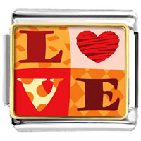 "Italian Charms - golden italian charm bracelet plated valentine' s day  "" love""  photo photo italian charm Image."