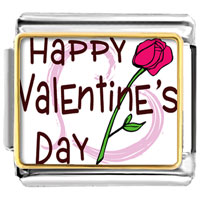 Italian Charms - gold plated valentine' s day pink rose photo italian charm bracelets Image.