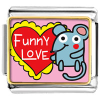 Italian Charms - gold plated valentine' s day funny love mouse photo italian charm bracelet bracelets Image.