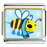 Italian Charms - golden italian charm bracelet plated cartoon theme photo,  bee cool photo italian charm Image.
