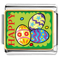 Italian Charms - golden italian charm bracelet plated cartoon theme photo,  happy easter photo italian charm Image.